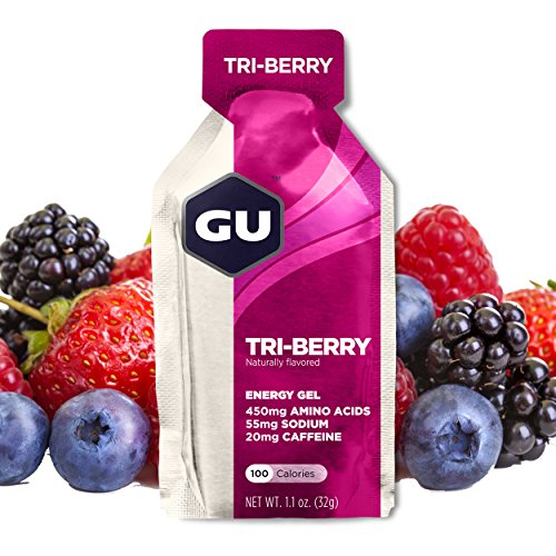 GU Energy Gel, Tri Berry (Waldfrucht), Box mit 24 x 32 g (Gel-kraftstoff)