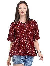 d2061f32413de6 Serein Women's Top (Maroon Floral Print Georgette Flared Peplum top with  Angel Bell Sleeves)