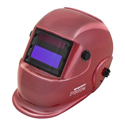 Proteco-Werkzeug® P600E Solar Automatk Schweißhelm Schweisshelm Schweissmaske Schweißschild Automatikhelm ROT Carbon Design