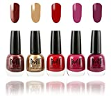 #5: MI Fashion Bold and Beautiful Combo of 5 Nail Polish- Shimmer Coffee, Delightfully Golden, Daring Red, Pucker Up Plum and Wonder Wine-12 ml each