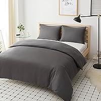 Mohap Non-Iron Zippered Duvet Cover Set 3 PCS Double Plain Brushed Microfiber Bedding Duvet Cover with Pillowcases (Grey)