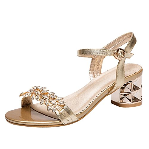 Mee Shoes Damen mit Strass chunky heels bling bling Sandalen Gold