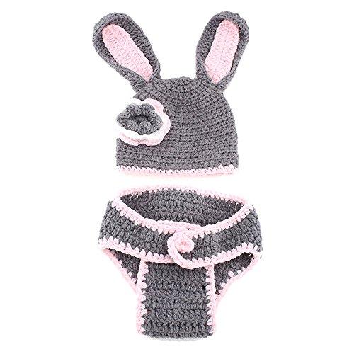 Newin Star Disfraz de Ganchillo de Linda Conejo Rosa,Atrezzo fotografia,Ropa de bebé Hecha a Mano,Regalo para Bebé recién Nacido