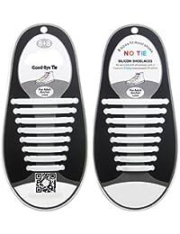 CrownLit's Unisex 16 Pcs/Set No Tie Shoe Laces with Night Glow (White Color)