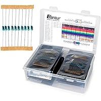 EFANTUR 575 pz. Kit Resistenze 19 Valori 0 Ohm – 1M Ohm con Tabella di Identificazione del Colore e Scatola per Arduino e Altri Progetti di Elettronica