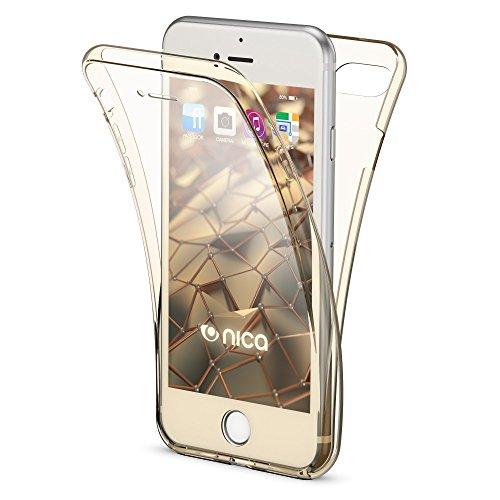 Apple iPhone 8 / 7 360 Grad Handy-Hülle von NICA, Full Cover vorne hinten Rundum Doppel-Schutz, Dünnes Ganzkörper Case Silikon Etui Handytasche, Transparenter Displayschutz & Rückseite - Rose Gold Gold