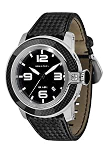 Glam Rock Unisex Quartz Watch with Black Dial Analogue Display and Black Leather Strap 0.96.2839