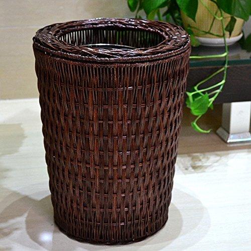 Chinesische Rattan-Haushalts-runde Behälter können, moderne Idee, Wohnzimmer-Schlafzimmer-Küchen-Badezimmer-Büro-Papierkorb, ohne Abdeckung ( Color : Brown , Größe : 3L )