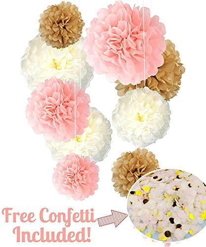 (Seidenpapier Pom Poms Neutral Pink Gold Dekorationen - 9 Stück 14