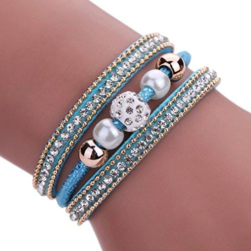 Fulltime(TM) Women Bohemian Bracelet Pearl Woven Braided Handmade Wrap Cuff Magnetic Clasp (Blue)