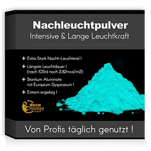 decomonkey Profi Nachleuchtpigment Glühpulver 100g hellblau Nachtleuchtendes Phosphoreszierend selbstleuchtend Glow Pulver Nachleuchtpulver Leuchtfarben Nacht Leuchtpulver -