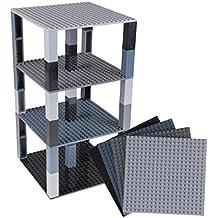 Strictly Briks Pack de 4 Bases con Ladrillos separadores 2 x 2 - Construcción en Forma de Torre - Compatible con Todas Las Marcas - Negro y Gris - 15,24 x ...