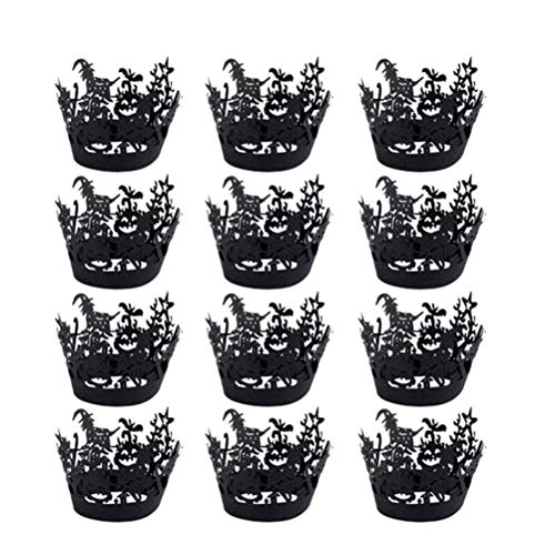 (Amosfun 12 Stück Halloween Cupcake Liner Backförmchen Cupcake Wrapper für Halloween Party Dekoration)