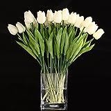 Cozyswan 10 pezzi PU Stunning Olanda mi tulipano vero tocco di fiori di nozze piante fiori artificiali di seta - Bianco