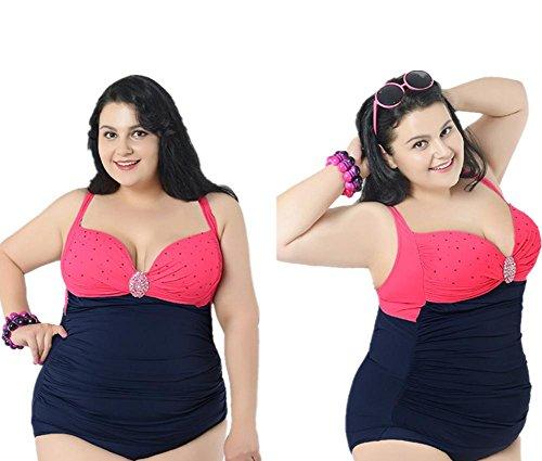 ZOYOL-YT Siamese Badeanzug Sexy Düngung Große Größe Hohe Taille Mit Brustkorb Gather Together Dreieck Bademode Red