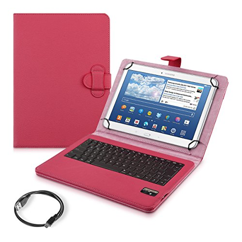 """kwmobile Hülle mit QWERTY Tastatur für 9-10"""" Tablet mit Ständer - Kunstleder Tablet Schutzhülle in Pink"""