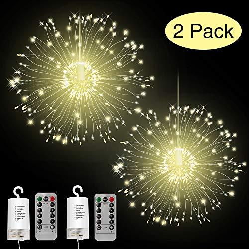 Vivibel LED Feuerwerk Lichterketten, 2 Stück 120 LED Hanging Batterie Feuerwerk Licht mit Fernbedienung, 8 Modes IP65 Wasserdicht Kupferkabel fur Garten Terrasse Hochzeit Party Weihnachten (Warmweiß)