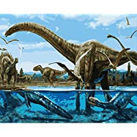 BPAINTF Painting by Numbers Diy Ancient Underwater Dinosaur Animal Drawing on Canvas Paintings for Modern Home Wedding Decor Gift 60X75cm DIY FRAMED