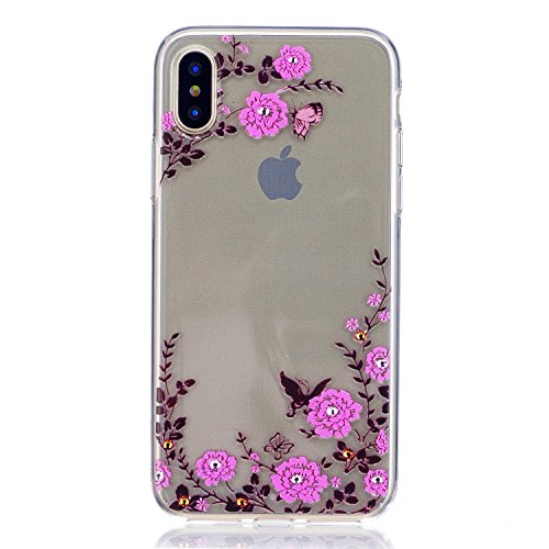 iphone X Hülle,Cozy Hut Transparent TPU Silikon Schutzhülle Cover Case Handyhülle für iphone X, [Liquid Crystal] Soft Silikon Transparent Ultra Dünn Schlank Bumper-Style Handyhülle Premium Kratzfest TPU Durchsichtige Schutzhülle für iphone X Case, iphone X 5.8 Zoll Case Cover - Rosen