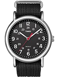 Timex Unisex Special Weekender Slip Through Quartz Watch with Black Dial Analogue Display and Black Nylon Strap TT2N647