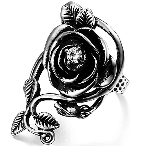 ahl Ringe, Rose Blume Rebe Ehering Damen Frauen Verlobungsring, schwarz Silber - Ringgrößen 62 (19.7) ()