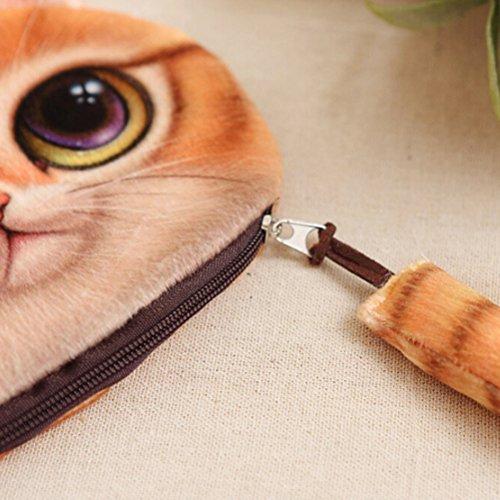 sevenmye 1Stück Mini Cute Cat Reißverschluss Pocket Münze Geldbörse Tasche LightGrey gelb