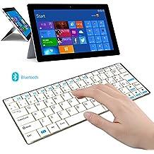 Rii mini i9 teclado Bluetooth con acero inoxidable para tablet/smartphone/ Apple PC y Mac,Blanco(layout ESPAÑOL)