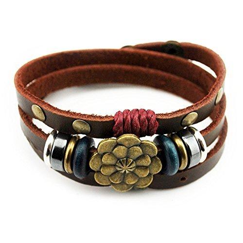 Multilayer Leder Persönlichkeit Hämatit Lucky Lotus Flower Snap Button Wickelarmband von celokiy (Button, Gürtel Schleife)