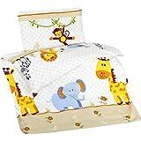 Aminata Kids - Kinderbettwäsche Bettwäsche Kinder 100x135 cm Baumwolle Jungen Mädchen Zoo-TiereTiermotiv Elefant Giraffe Zootiere Affe Wildetiere Babybettwäsche