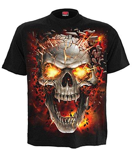 Spiral Direct Hombre Calavera Blast Camiseta Negra - Negro, X-Large