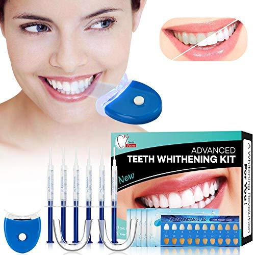 Gel Sbiancante per Denti Teeth Whitening Kit Sbiancamento Denti Denti Bianchi Professionale Pulizia Denti-10x3ML Gel Sbiancante,1xLuce LED,2xVassoio Dentale,1xCarta di Colore,5 Sbiancamento Denti Wipe