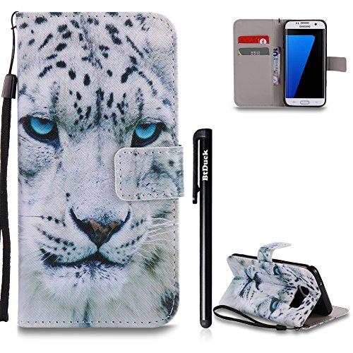 Galaxy S7 Edge Hülle Weiß,BtDuck Ultra Slim PU Leder Buntes Muster Ledertasche Hülle Tasche Flip Buch Stil Strap Lederhülle Handyhülle Samsung Galaxy S7 Edge Brieftasche - Blaue Augen Leopard