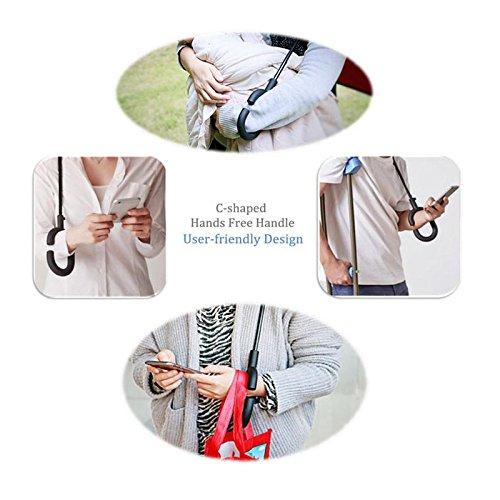 Reverse-Regenschirm,zusammenklappbar Creative Double Layer winddicht Rückseite Regenschirm mit C-förmigem Griff für Auto und Outdoor Nutzung durch booming3 Weiß