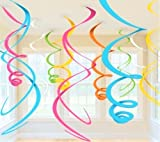 1 PACK OF PLASTIC HANGING SWIRL DECORATIONS X12 (multi-coloured)