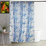 """Kuber Industries Bamboo Design PVC Shower Curtain with Hooks - 54""""x84"""", Blue"""