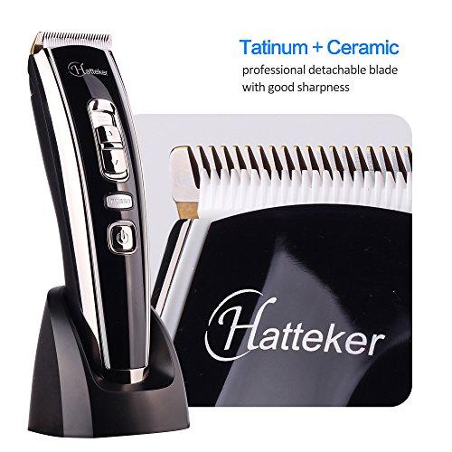 Maquina Cortar Pelo Afeitadora Corporal inalámbrica para hombres con lámina cerámica de aleación de titanio pantalla LED batería de litio soporte de carga USB recargable # Hatteker RFC 6618