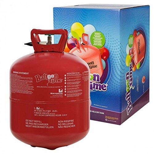 Heliumflasche mit Helium / Ballongas / XXL 420 Liter Einweg-Heliumbehälter für 50 Luftballons ==> für leichtes befüllen von Ballons -