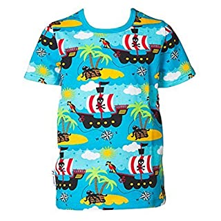 JNY Colourful Kids Boy´s Shirt PIRATE in blue Bio cotton - short sleeve, 86