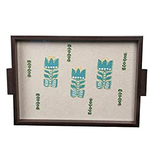 Craftghar Serving Decorative Wooden Trays For Dinning Coffee Dinner Table, Kitchen Home & Office |Made of Wood & Glass with Embroidery & Patch Work on Cloth | 1 Tray | Ideal Gift For Family and Friends