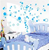 88 Waterproof Floating Bubble Loose Stickers Choose from 20 Colours Bathroom Tile Window Wall Art - Sky Blue