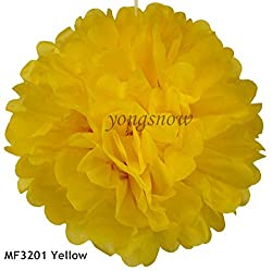 yellow, 20cm : 10pcs/lot 8 Artificial PomPom Tissue Balls Paper Flower for Wedding Home Marriage Room Decor Pompon Party Craft Supplies 9Z