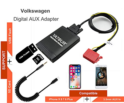 VW iPhone Stereo Aux Adapter, KFZ Digital Audio-Eingang Interface mit SD-Karte, iPod MP3 USB, 3,5 mm AUX IN, Lightning Musik Player für 10-poligen VW 1993-1998 (M06-VW10) - Ipod Touch-wechsler