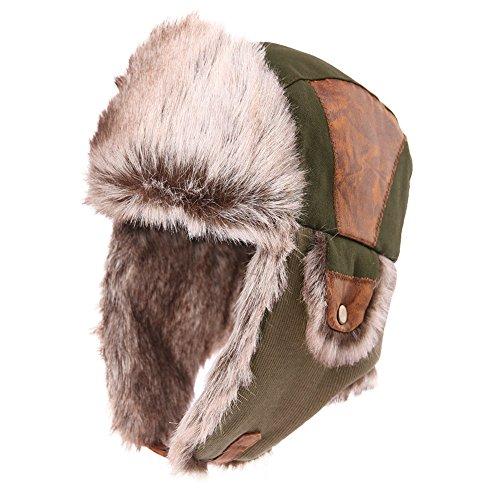 SIGGI SIGGI warme armeegrüne Baumwolle Trappermütze Bomber Hut Unisex Fliegermütze Fellmütze Erwachsenen für Herren, 67191_Armeegrün, 60cm