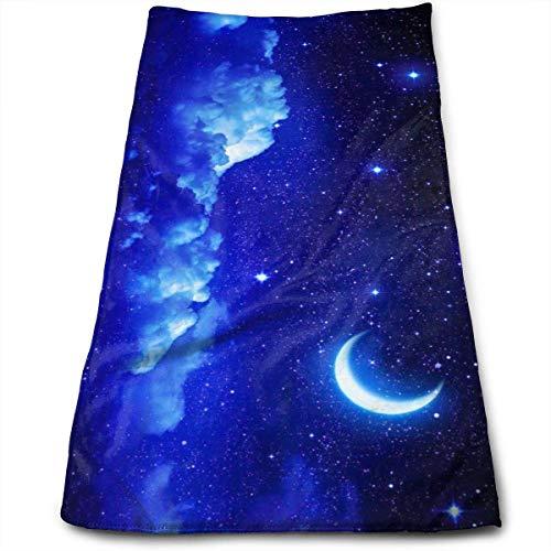 Sangeigt Handtuch, Moon Star in Blue Sky Beautiful Night Bath Towel Hand Towel Toilet Wipes Beauty Towel