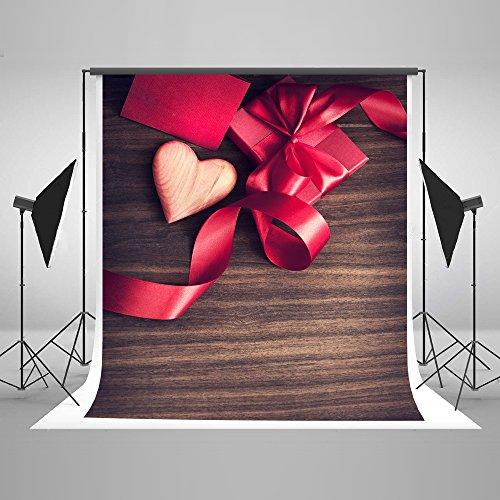 nd Valentine Dunkles Holz rot Herz mit Geschenken Hintergründe für die Fotografie 5x 7Valetines Hintergründen ()