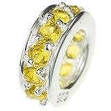 925 Sterling Silber Runde Ring Perle Gelb Braun Zirkonia Kristalle für europäische Charm-Armbänder