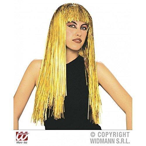 """Preisvergleich Produktbild Lange Lametta - Perücke in gold mit Pony """" Laser Girl """""""