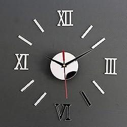 Tongshi DIY espejo Living moderno diseño casa habitación decoración tiempo pared reloj negro (Plata)