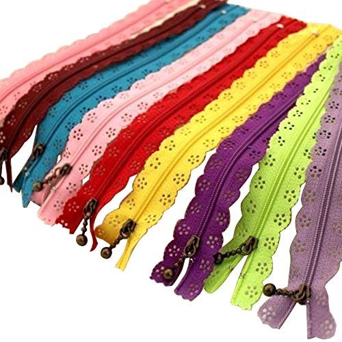 TININNA 20cm Spitze Reißverschlüsse Sortiert Reißverschluss für Sewing Tailor Craft-Kleid-Beutel-Tuch 10 Stück