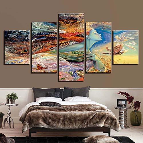 mmwin Kunstwerk Dekoration Leinwand HD Drucke 5 Stücke Schwan Wandkunst Mädchen Modular Für Wohnzimmer Bilder Abstrakte Poster